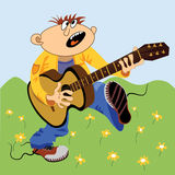 kreskówka gitarzysta Zdjęcia Royalty Free