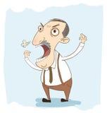 Kreskówka gniewny szef w ręka rysunku stylu Obraz Royalty Free