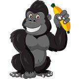 Kreskówka goryla mienia śmieszny banan Zdjęcia Royalty Free