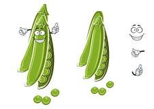 Kreskówka grochowego strąka zielony charakter Obrazy Stock