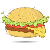 Kreskówka hamburger od fasta food Obrazy Royalty Free