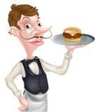 Kreskówka hamburgeru kelner Fotografia Stock