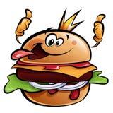 Kreskówka hamburgeru królewiątko robi aprobata gestowi ilustracji