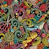 Kreskówka handmade i szy doodles bezszwowego wzór Zdjęcie Stock