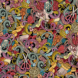 Kreskówka handmade i szy doodles bezszwowego wzór Fotografia Stock