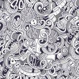 Kreskówka handmade i szy doodles bezszwowego wzór Fotografia Royalty Free