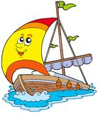 kreskówka jacht ilustracji