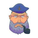 Kreskówka kapitanu żeglarza twarz z brodą, nakrętką i dymienie drymbą, wektor Fotografia Royalty Free