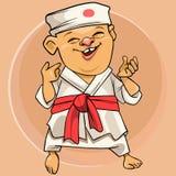 Kreskówka karate śmieszny mężczyzna w Japońskim białym kimonie royalty ilustracja