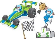Kreskówka kierowca & samochód wyścigowy Zdjęcie Stock