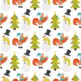 Kreskówka koguta kurczaka gospodarstwa rolnego bożych narodzeń bezszwowego deseniowego wektorowego ilustracyjnego zwierzęcego rol Zdjęcie Royalty Free