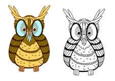 Kreskówka kolorowa i konturu orła sowa Zdjęcie Royalty Free