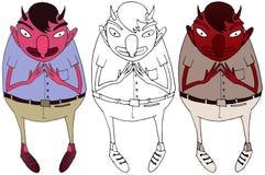 Kresk?wka koloru doodle potwora r?ki czarciego czerwonego remisu szcz??liwy ?mieszny ilustracja wektor