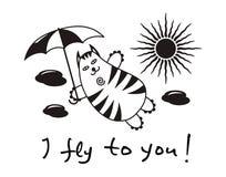 """Kreskówka komiczny kot z parasolowym lataniem w chmurach Teksta †""""latam ty ilustracji"""