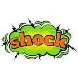 Kreskówka komiczny szok gulgocze etykietki z tekstem i elementy z halftone ocieniają, retro kreskówki wystrzału wektorowa sztuka Obraz Stock