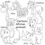 Kreskówka konturu afrykanina zwierzęta Obraz Royalty Free