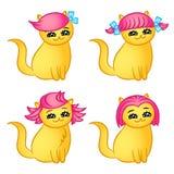 Kreskówka kotów fryzury button ręce s push odizolowana początku ilustracyjna kobieta Obraz Stock
