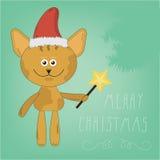 Kreskówka kot w czerwonym Bożenarodzeniowym kapeluszu Wpisowi Wesoło boże narodzenia pisać ręką Fotografia Royalty Free