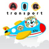 Kreskówka kot z małpą na samolocie royalty ilustracja