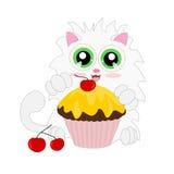 Kreskówka kot z słodka bułeczka ilustracja wektor