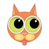 Kreskówka kota twarzy ikona Kot pokazuje jęzor Zdjęcie Stock