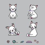 Kreskówka kota Wektorowe Ilustracyjne pozy Zdjęcia Royalty Free