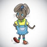 Kreskówka królik dziewczyna w kombinezonach Zdjęcia Stock