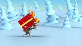 Kreskówka królik i duży pudełkowaty prezent ilustracja wektor