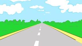Kreskówka kraju lata droga z zielonymi roślinami i chmurnym niebieskim niebem Obraz Royalty Free