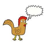 kreskówka kurczak z mowa bąblem Zdjęcie Stock