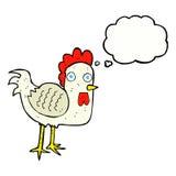 kreskówka kurczak z myśl bąblem Zdjęcia Stock