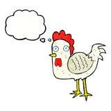 kreskówka kurczak z myśl bąblem Obrazy Royalty Free