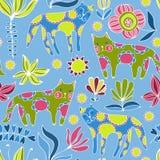Kreskówka kwiaty i koty kolorowy deseniowy bezszwowy Zdjęcia Royalty Free