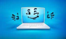 Kreskówka laptopu ikona z smiley twarzą royalty ilustracja