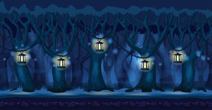 Kreskówka las przy ciemnym nocy tłem ilustracji