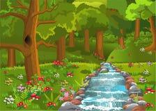 Kreskówka las z rzecznym omijaniem z udziałami wszystko wokoło kwiaty, obraz royalty free