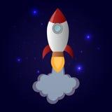 Kreskówka lata astronautyczną rakietę w gwiaździstej przestrzeni Fotografia Royalty Free