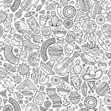Kreskówka latyno-amerykański, meksykański bezszwowy wzór pociągany ręcznie, Obraz Stock