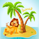 Kreskówka lew odpoczywa na wyspie w lecie Obraz Royalty Free