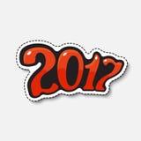 Kreskówka liczba 2017 w komiczka stylu Obrazy Stock