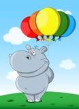 Kreskówka śliczny hipopotam z balonami Fotografia Royalty Free