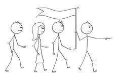 Kreskówka lider Prowadzi drużyny ludzie biznesu Z flaga ilustracja wektor