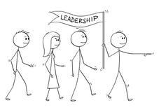 Kreskówka lider Prowadzi drużyny ludzie biznesu Z przywódctwo flaga royalty ilustracja
