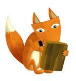 Kreskówka lisa obsiadanie - czytający i pisać - ilustracja wektor