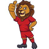 Kreskówka lwa piłki nożnej maskotka pokazuje kciuk w górę royalty ilustracja