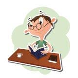 Kreskówka mężczyzna czyta książkę Zdjęcia Royalty Free