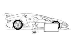 Kreskówka mężczyzna, Drogi sportowego samochodu właściciel, obsiadanie i Błagać dla Benzynowego pieniądze, ilustracja wektor