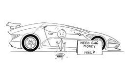 Kreskówka mężczyzna, Drogi sportowego samochodu właściciel, obsiadanie i Błagać dla Benzynowego pieniądze, ilustracji