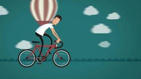 Kreskówka mężczyzna jedzie bicykl na drodze zbiory wideo