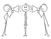 Kreskówka mężczyzna lub biznesmen Między Dwa mężczyzna Z Głośnymi mówcami ilustracja wektor